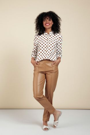 Studio Anneloes Kate Faux Leather Trousers 06110