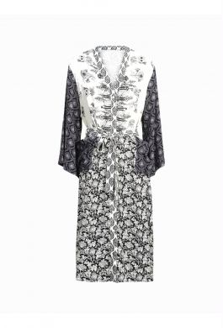 Summum 5s1133-11173 Dress Belted Kimono Patchwork