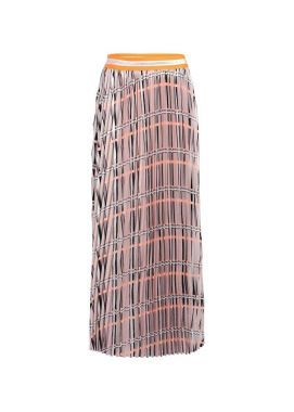Summum 6s1130-11088 Plisse Skirt Pink Salmon Check