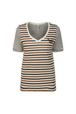 Summum 3s4499-30227 Top V-neck Cotton Lurex Stripe