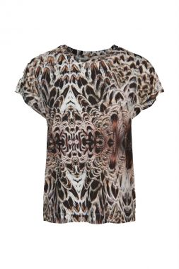 Summum 3s4570-30271 Top Short Slv Feather Print On