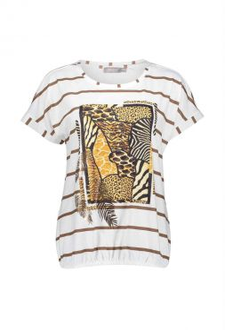 Geisha 12368-40 T-shirt Striped With Artwork